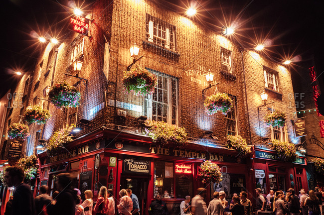Dublin, Ireland - June 29, 2013: The Temple Bar at night