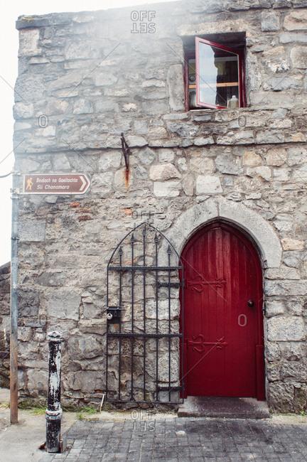 Old building with red door, Ireland