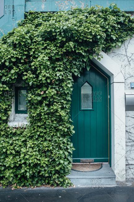 Green door on a house, Ireland