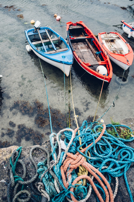 Boats tied to shore in Ireland