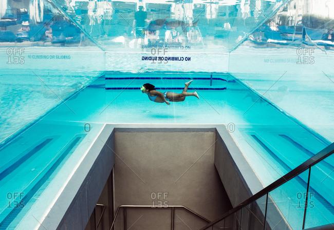 Miami, Florida - November 2, 2011: Stairs under a pool