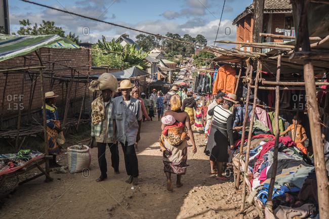 Fianarantsoa, Fianarantsoa, Madagascar - June 17, 2016: Ambohimahasoa Saturday Market