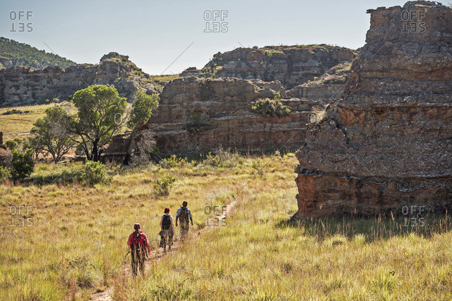 Tourists hiking in Isalo National Park, Ihorombe Region, Southwest Madagascar