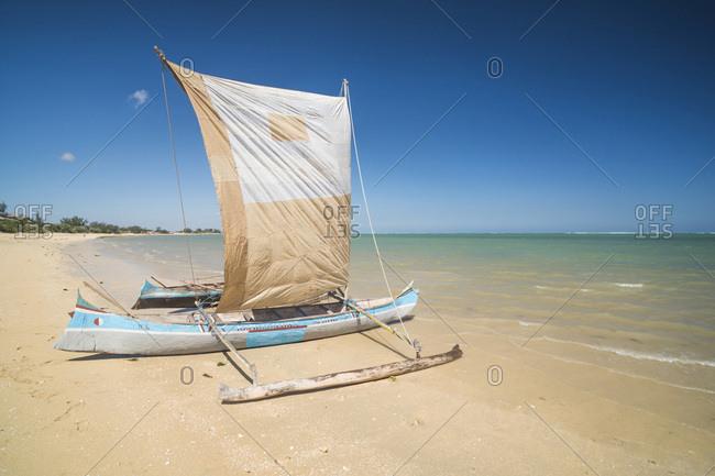 Ifaty, Toliara, Madagascar - June 17, 2016: Pirogue, a traditional Madagascar sailing boat on Ifaty Beach