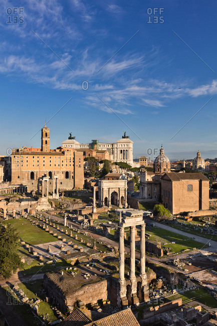 Roman Forum with view towards to Campidoglio Palace and Vittoriano