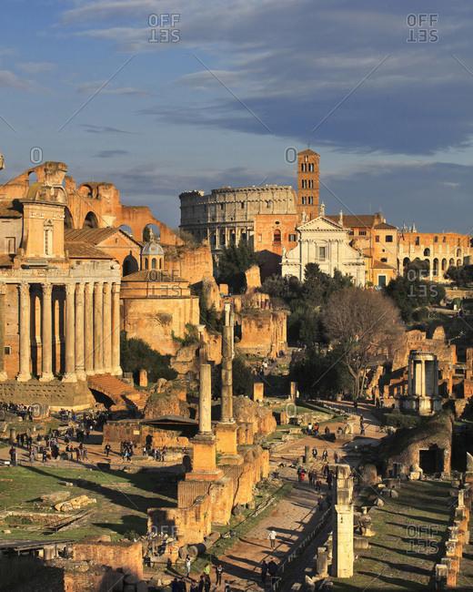 Rome, Roma district, Latium, Italy - April 23, 2016: Roman Forum