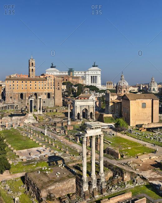 Roman Forum with view towards to Campidoglio and Vittoriano