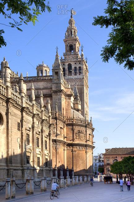 Barrio Santa Cruz, Seville, Andalusia, Spain - January 26, 2016: La Giralda