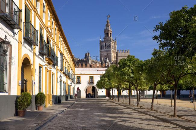 Barrio Santa Cruz, Seville, Andalusia, Spain - January 26, 2016: The Giralda seen from Patio de Banderas
