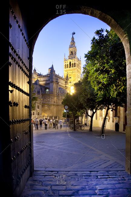 Barrio Santa Cruz, Seville, Andalusia, Spain - January 26, 2016: The Giralda from Patio de Banderas