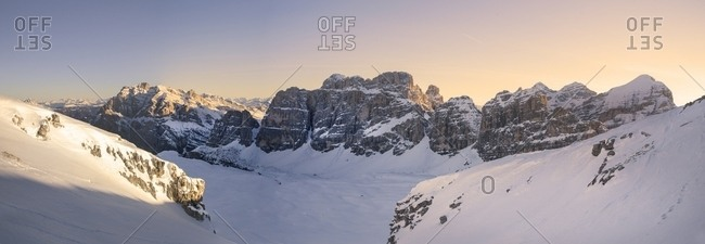 The group of Fanis and Tofane during a winter sunrise, Passo Falzarego