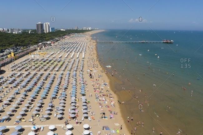 Friuli-Venezia Giulia, Italy - June 23, 2016: Lignano beach, aerial view