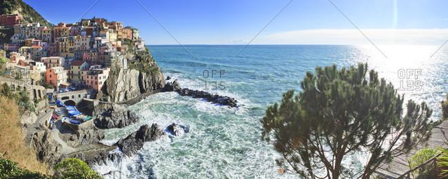 Liguria, Italy - April 14, 2016: Manarola