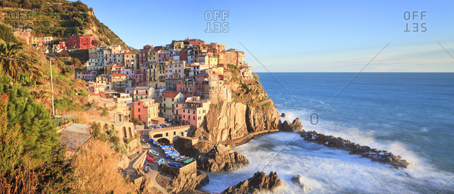 Liguria, Italy - April 14, 2016: Manarola