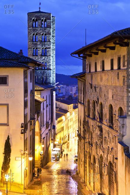 Church of Santa Maria della Pieve on Corso Italia by night