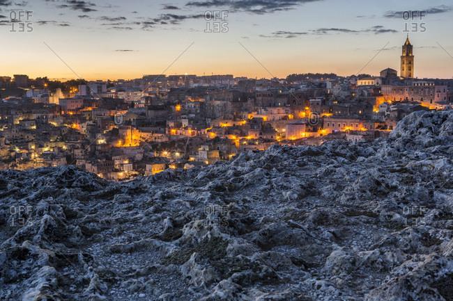 Panoramic view of Sassi of Matera at sunset