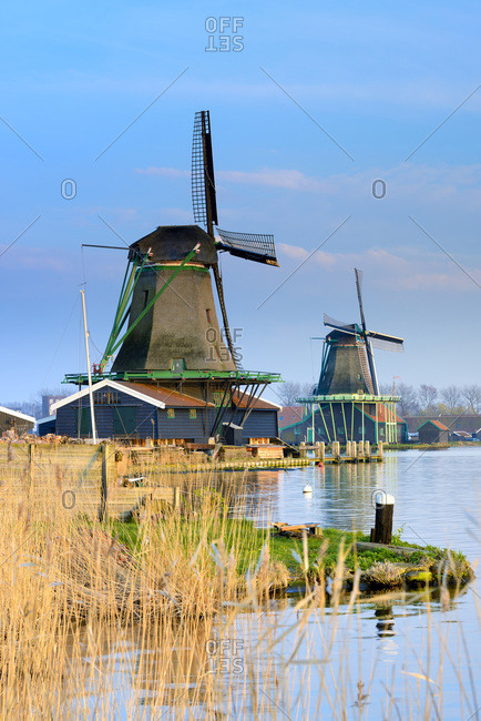Windmills in Zaanse Schans, A collection of well-preserved historic windmills and typical dutch houses