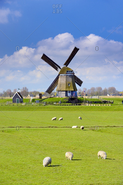 North Holland, Netherlands - August 12, 2016: Windmill in Oosthuizen