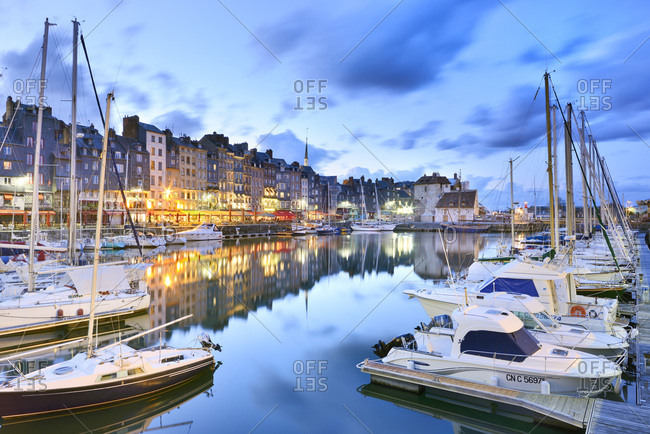 Honfleur, Normandy, France - August 12, 2016: Honfleur harbor - Port de Honfleur