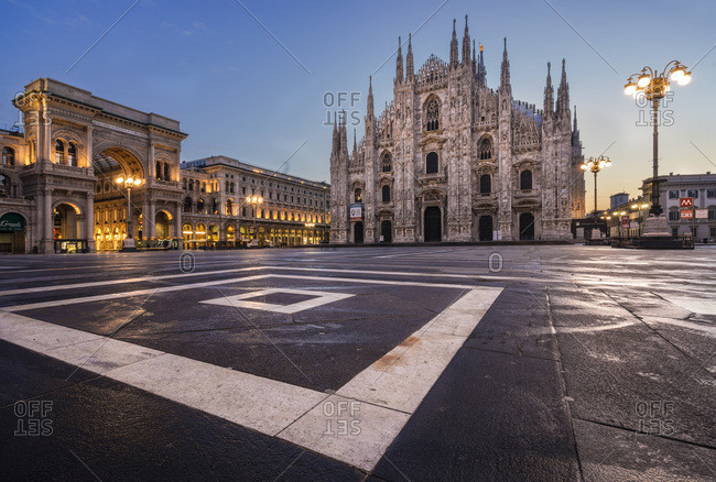 Lombardy, Italy - August 21, 2016: The Milan Cathedral at dawn