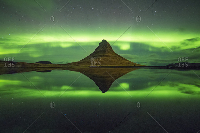 Northern lights above Kirkjufell Mountain