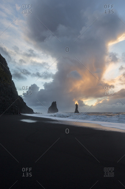 Dawn at the black sand beach of Reynisfjara