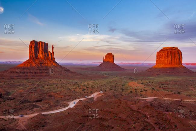 Monument Valley between Arizona and Utah, United States of America