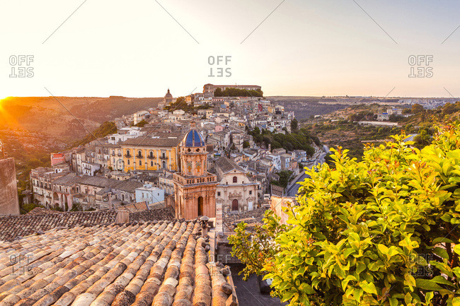 View of Ragusa Ibla, in the foreground the bell tower and the facade of the Chiesa (church) del Purgatorio