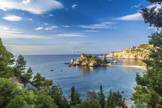 Italy, Sicily, Messina district, Taormina, Isola Bella, Mediterranean sea, Isola Bella