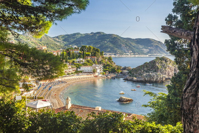 Italy, Sicily, Messina district, Taormina, Mediterranean sea, Mazzaro bay
