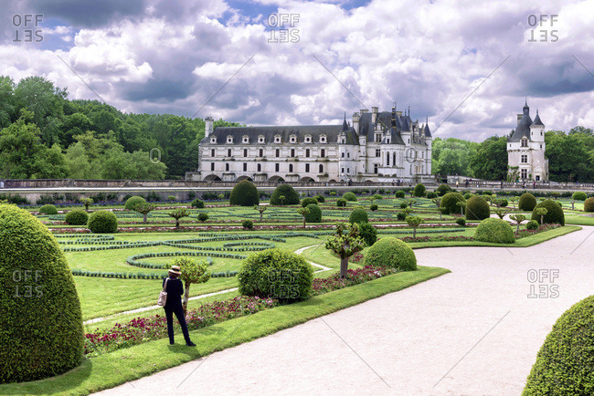Chenonceaux, Centre, France - July 27, 2016: The Castle, the garden of Catherine de Medici and Marques Tower