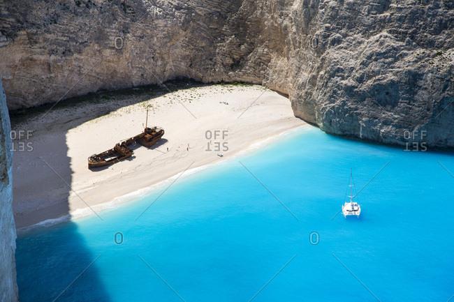 Shipwreck on Navagio Bay, North Zakynthos, Ionian Islands, Greece
