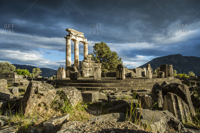 The Delphic Tholos in the archeological site of Delphi, Phocis