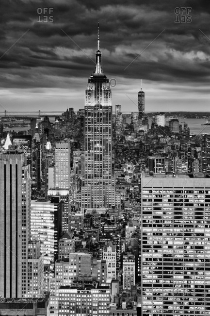 Empire State Building, Midtown skyline from the Rockefeller Center Top of the Rock, Freedom Tower in the far ground right