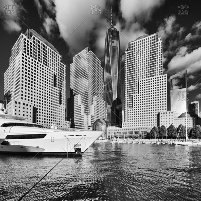 New York City, USA - August 8, 2016: Freedom Tower, View of the Tower and WTC buidings from the North Cove Marina