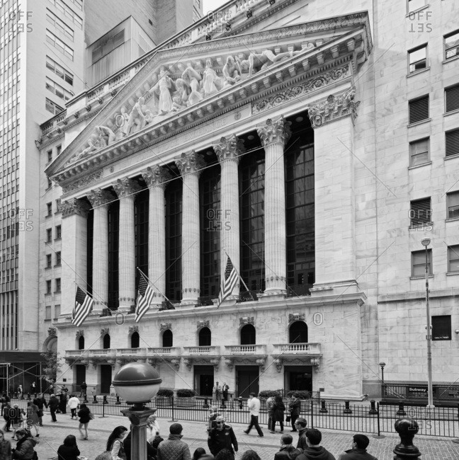 New York City,  USA - August 8, 2016: Wall Street, New York Stock Exchange, NYSE, View of the facade of the NYSE Building