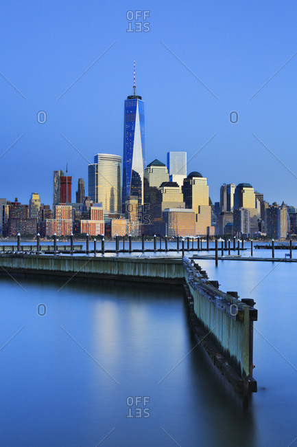 View across the Hudson River of the Downtown Manhattan and Financial District skyline from New Jersey