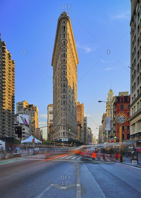 New York City, USA - July 31, 2016: Flatiron Building, Manhattan oldest skyscraper and its iconic clock