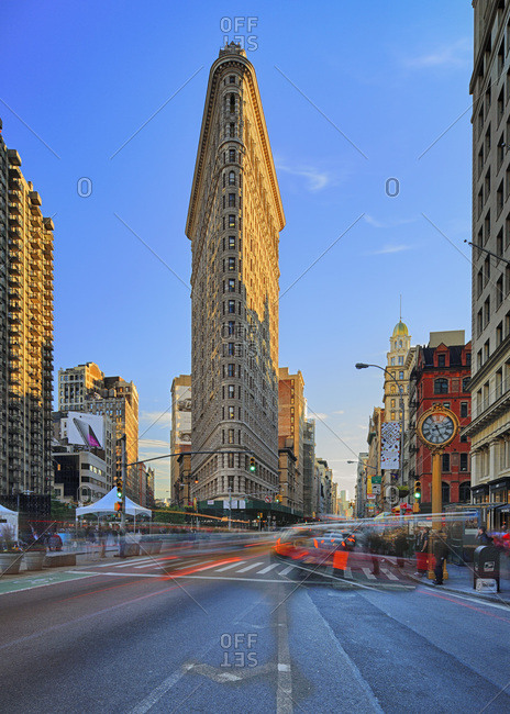 New York City,  USA - July 31, 2016: Flatiron Building, Manhattan oldest skyscraper and its iconic clock
