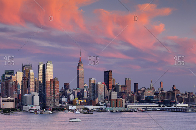 New York City,  USA - July 31, 2016: Empire State Building, Midtown Manhattan Skyline and the Empire State Building as seen across the Hudson River from New Jersey