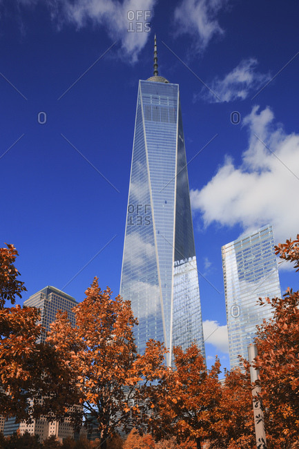 New York City,  USA - July 31, 2016: One World Trade Center, Freedom Tower, View of the Tower from the 9/11 Memorial