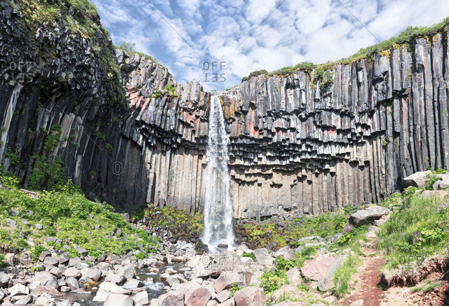 The basalt columns of the Svartifoss waterfall in the Skaftafell National Park