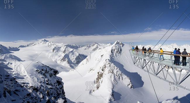 Tyrol, Austria - September 9, 2016: Tiefenbachkogl, on the back Wildspitze