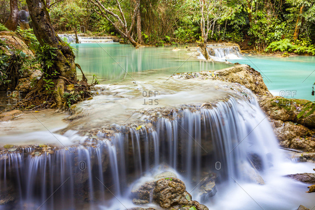 Turquoise water of the Kuang Si Waterfall