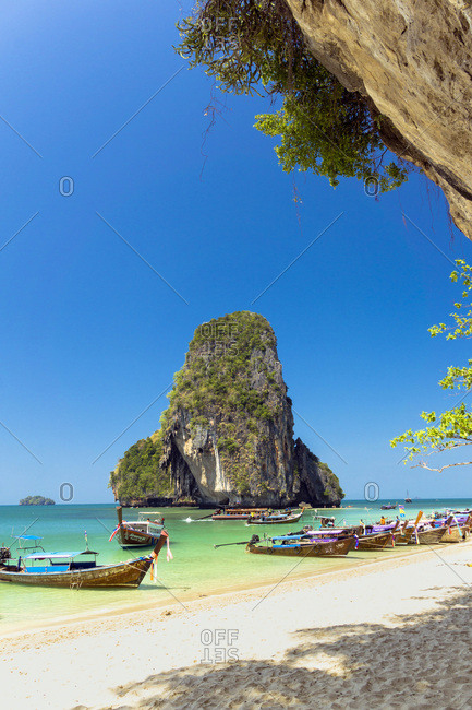 Krabi, Thailand - March 7, 2016: Phra Nang Cave Beach