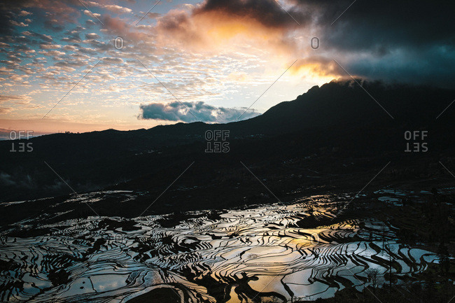 Cultural Landscape of Honghe Hani Rice Terraces during sunrise