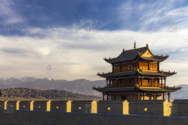 Jiayuguan fortess with blue sky and clouds