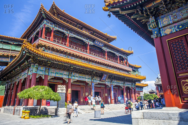 Beijing, China - September 21, 2016: Traditional Chinese-style architecture of Buddhist Lama temple