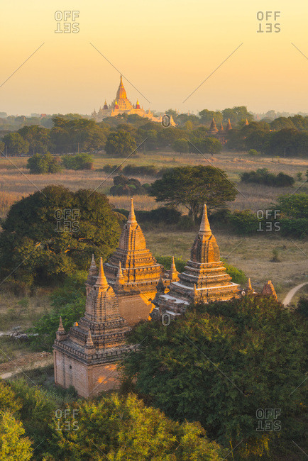 Pagodas and temples at sunrise