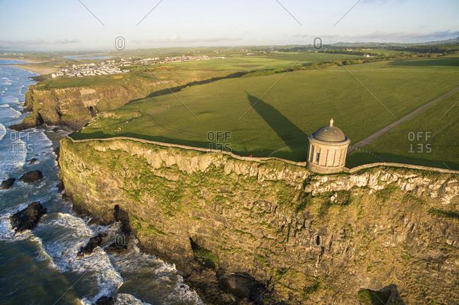 Mussenden temple near Castlerock, Aerial view